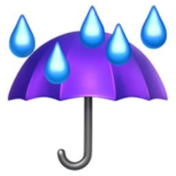Umbrella with Rain Drops Emoji (U+2614, U+FE0F) 10 Rain Emoji